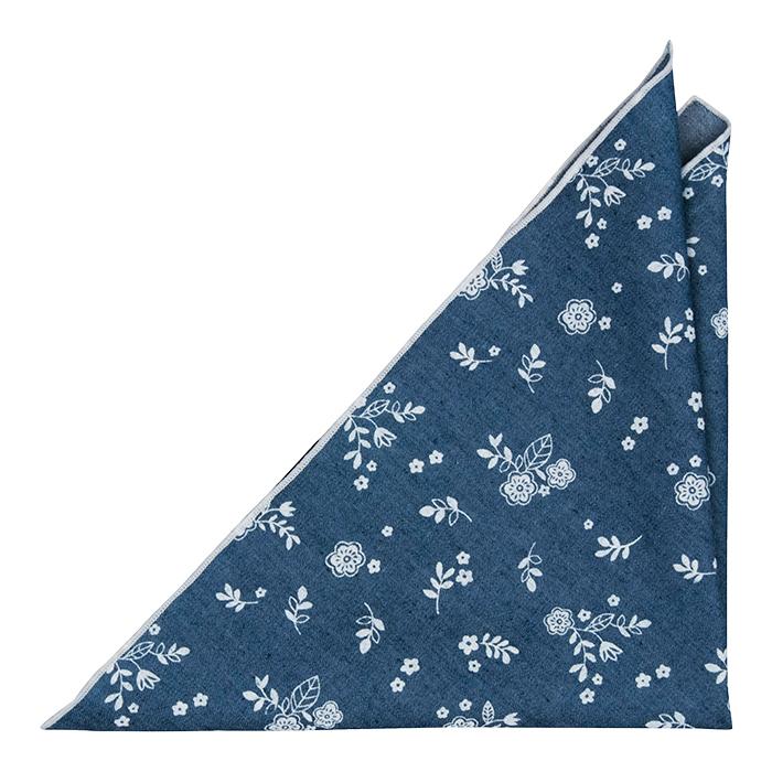Bomull Lommetørkler, Små, skarpe, hvite blomster på denimblått, Blå, Blomster