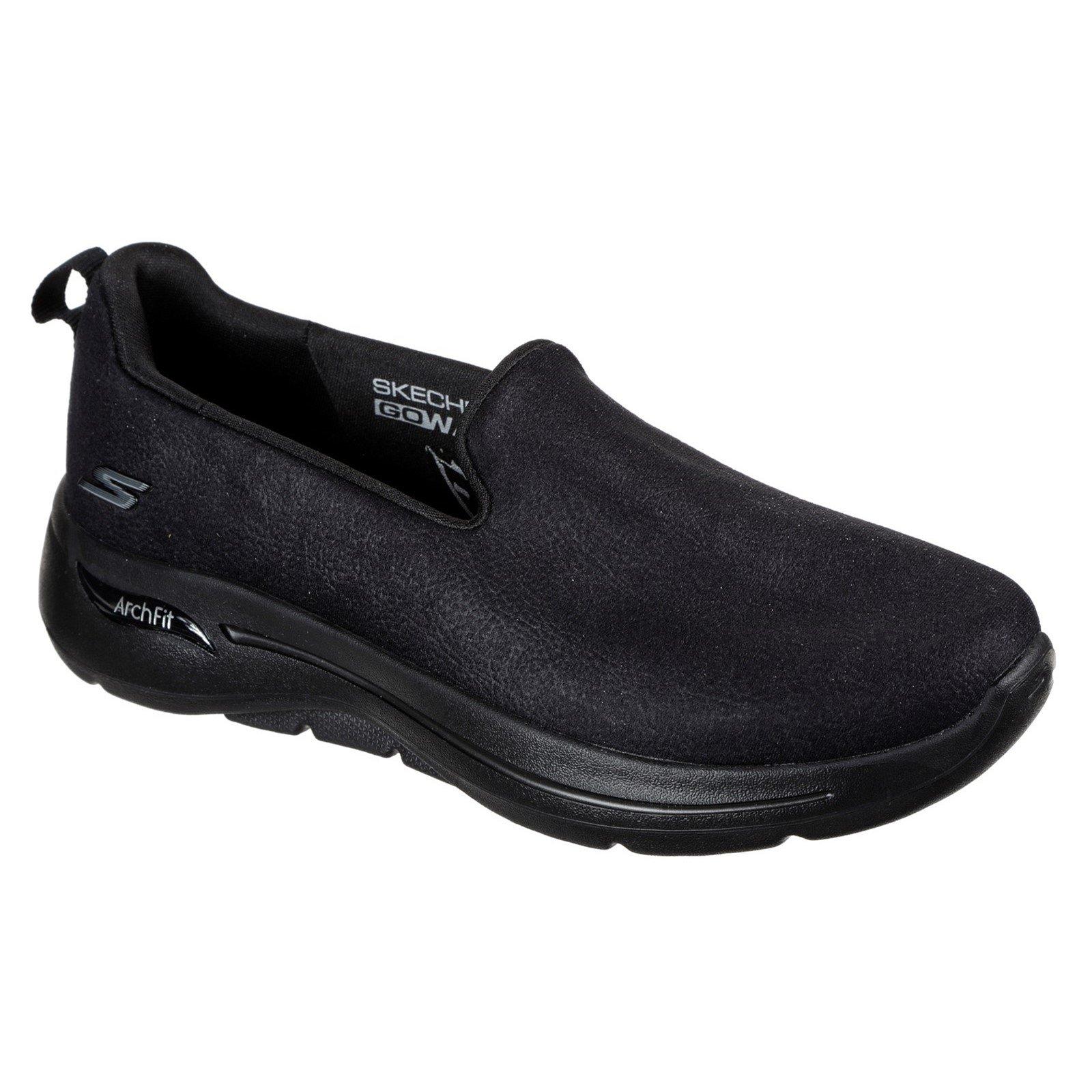 Skechers Women's Go Walk Arch Fit Smooth Voyage Trainer Black 32143 - Black 8