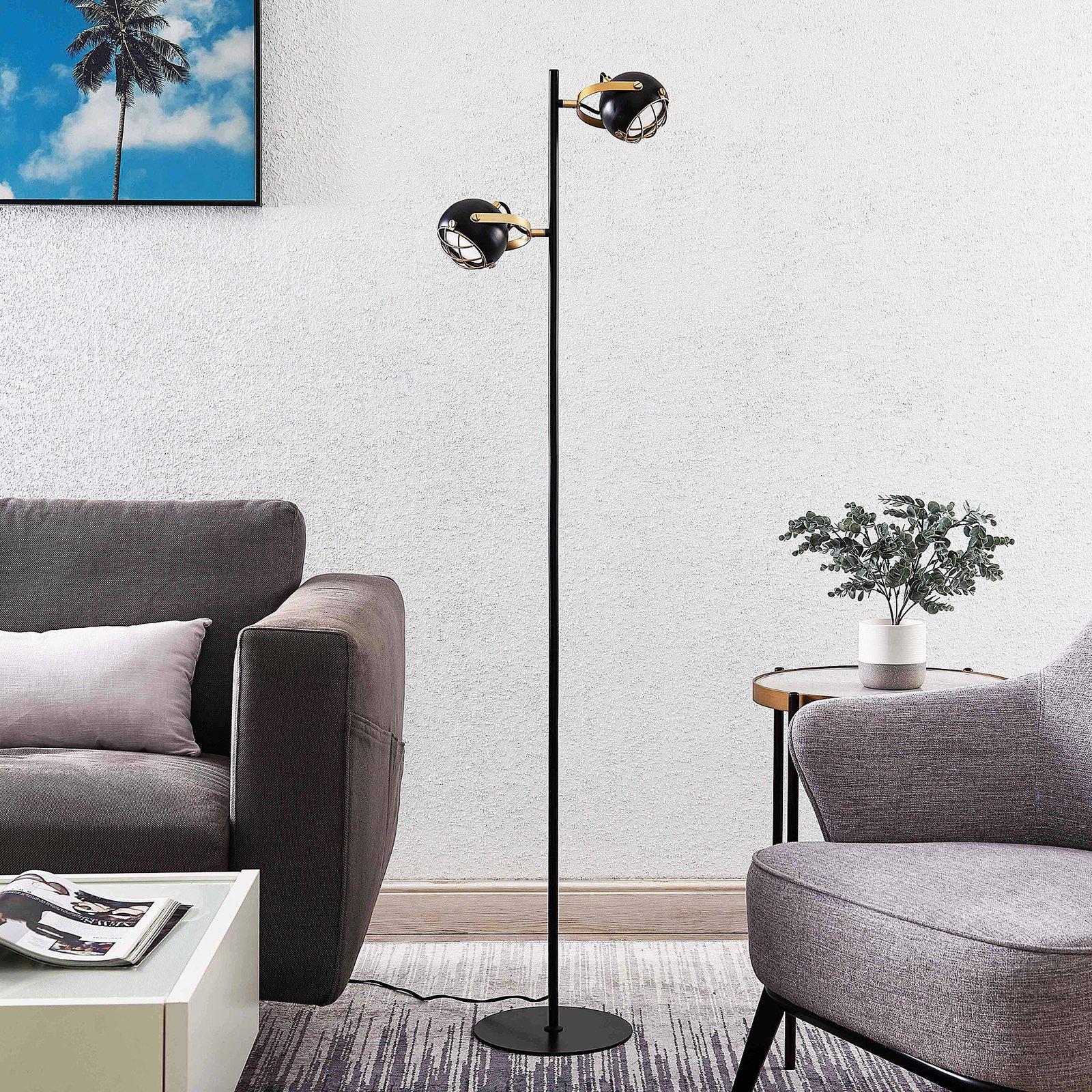 Lindby Dawid LED-gulvlampe med gulldekor
