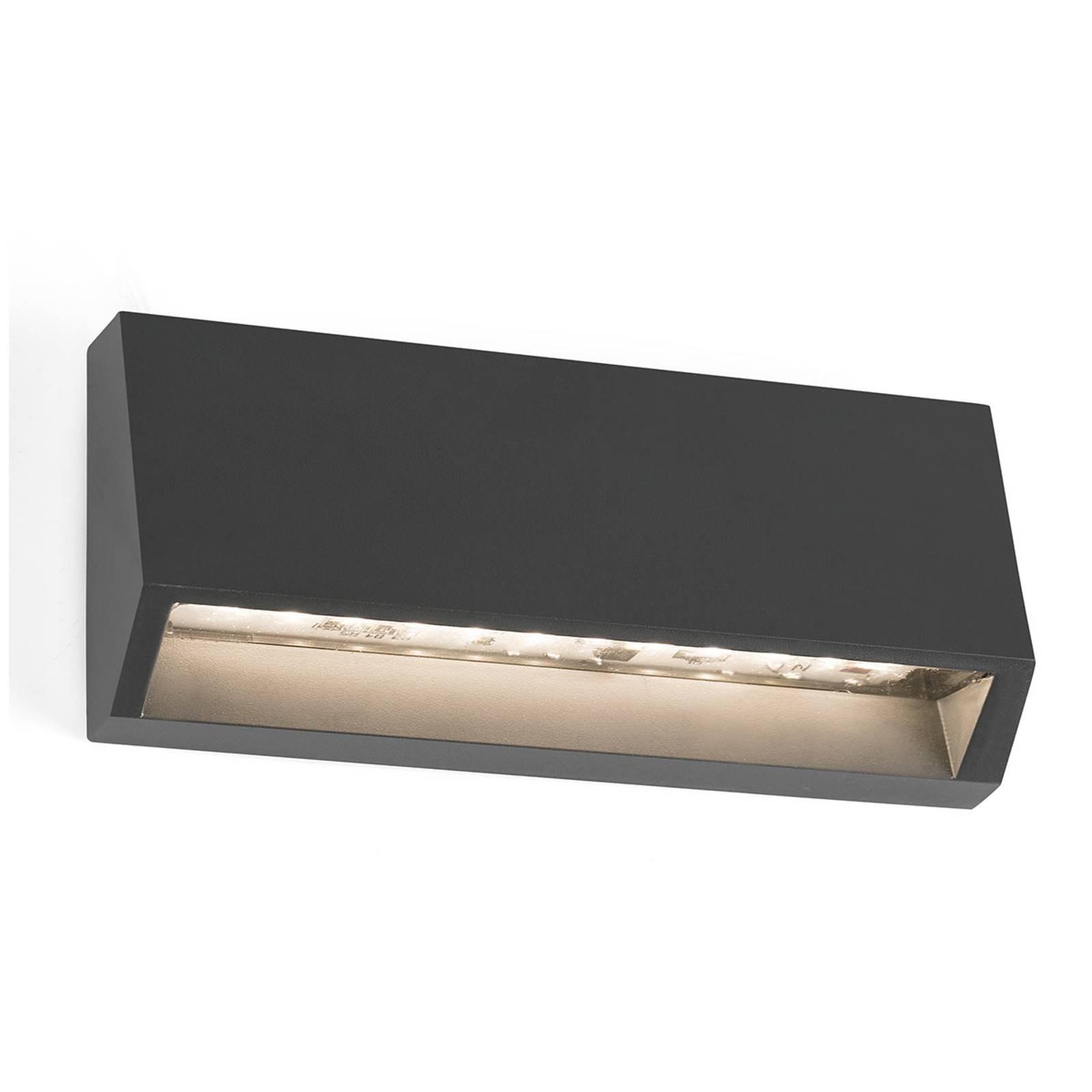 Kantet utendørs LED-vegglampe Must - 15,8 cm