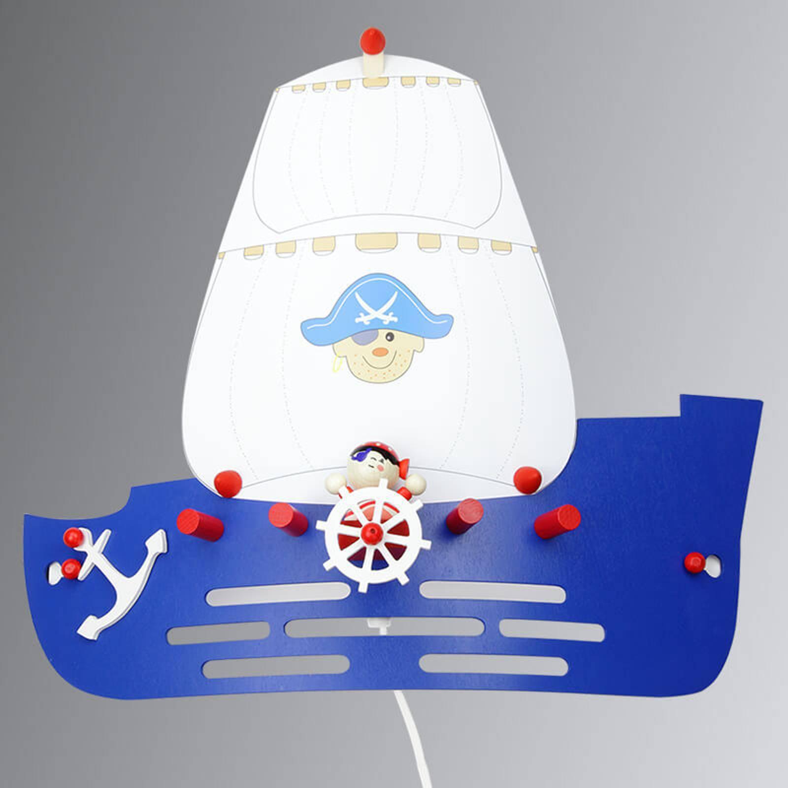 Vegglampe til barnerom Sjørøverskip