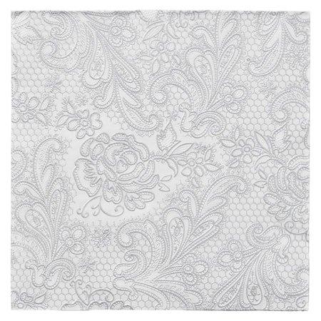Papirserviett Uni Lace Hvit/Sølv