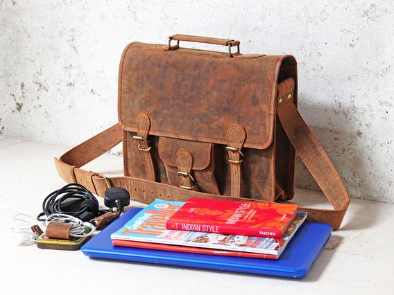 Boys And Girls Medium Leather Satchel Brown 15 Inch