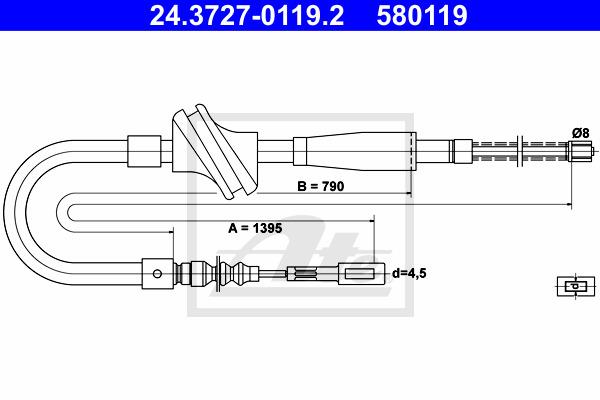 Käsijarruvaijeri ATE 24.3727-0119.2