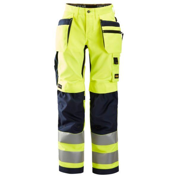 Snickers 6730 AllroundWork Arbeidsbukse varsel, gul/marineblå 17