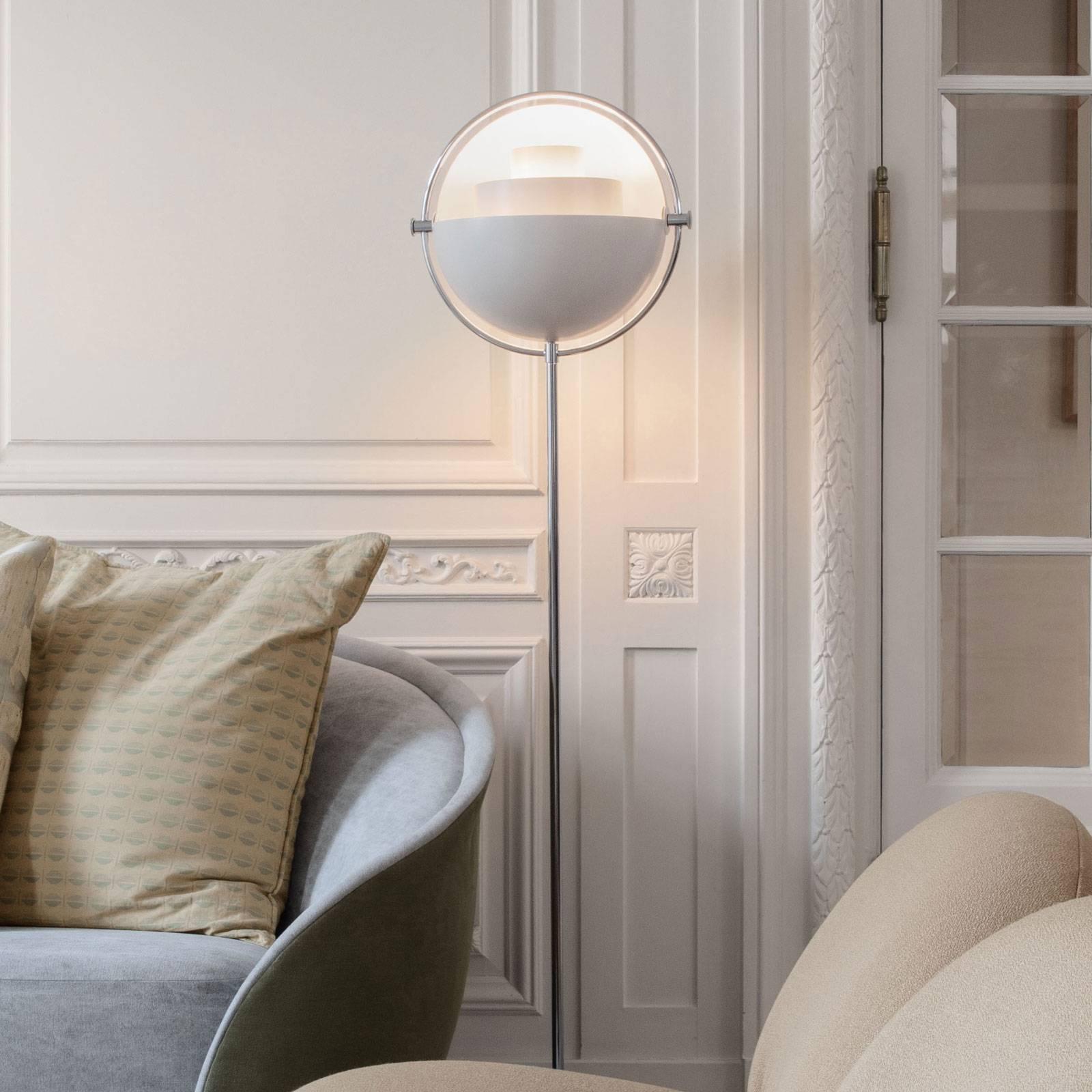 GUBI Multi-Lite -lattiavalo kromi/valkoinen