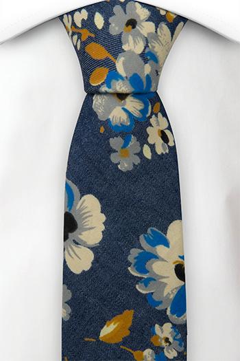 Bomull Smale Slips, Denimblått med blomster i hvitt, kobolt og sennep