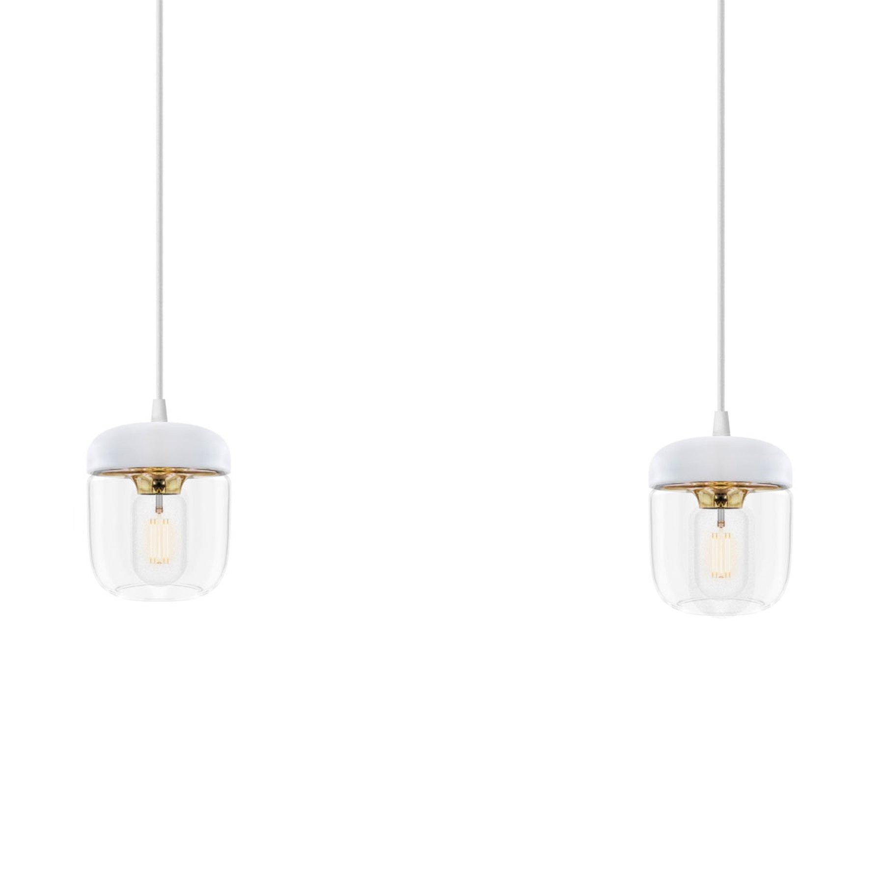 I hvit og messing - pendellampen Acorn 2 lyskilder