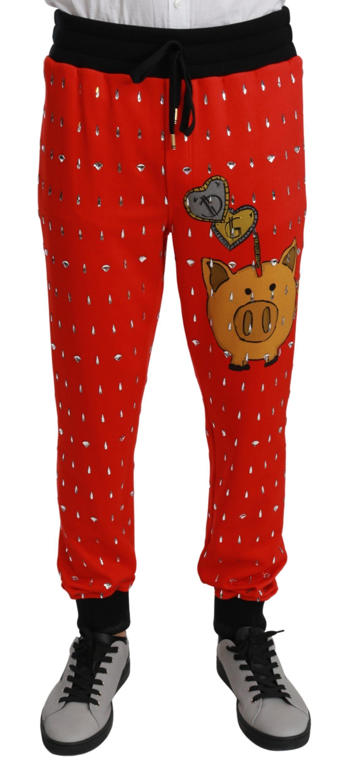 Dolce & Gabbana Men's Piggy Bank Cotton Crystal Trouser Red PAN70957 - IT44 | XS
