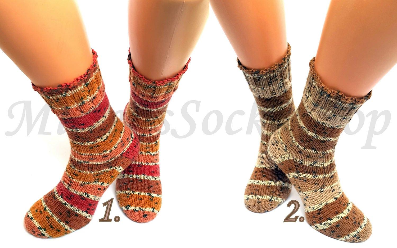 Beige Brown Hand Knitted Socks Striped From Sock Yarn Women's Warm Elegant Colorful Stylish Bright