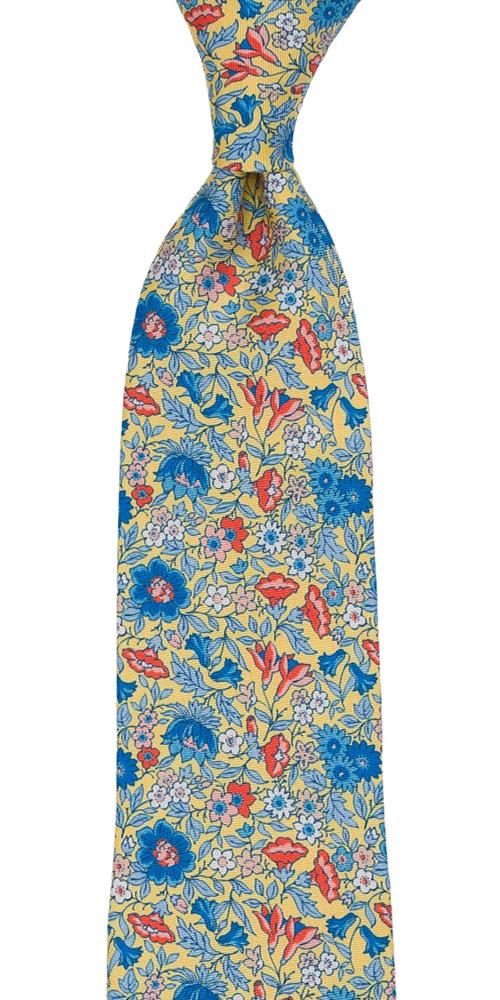 Silke Slips, Blå, oransje & hvite blomster på jasmingult, Gull, Blomster