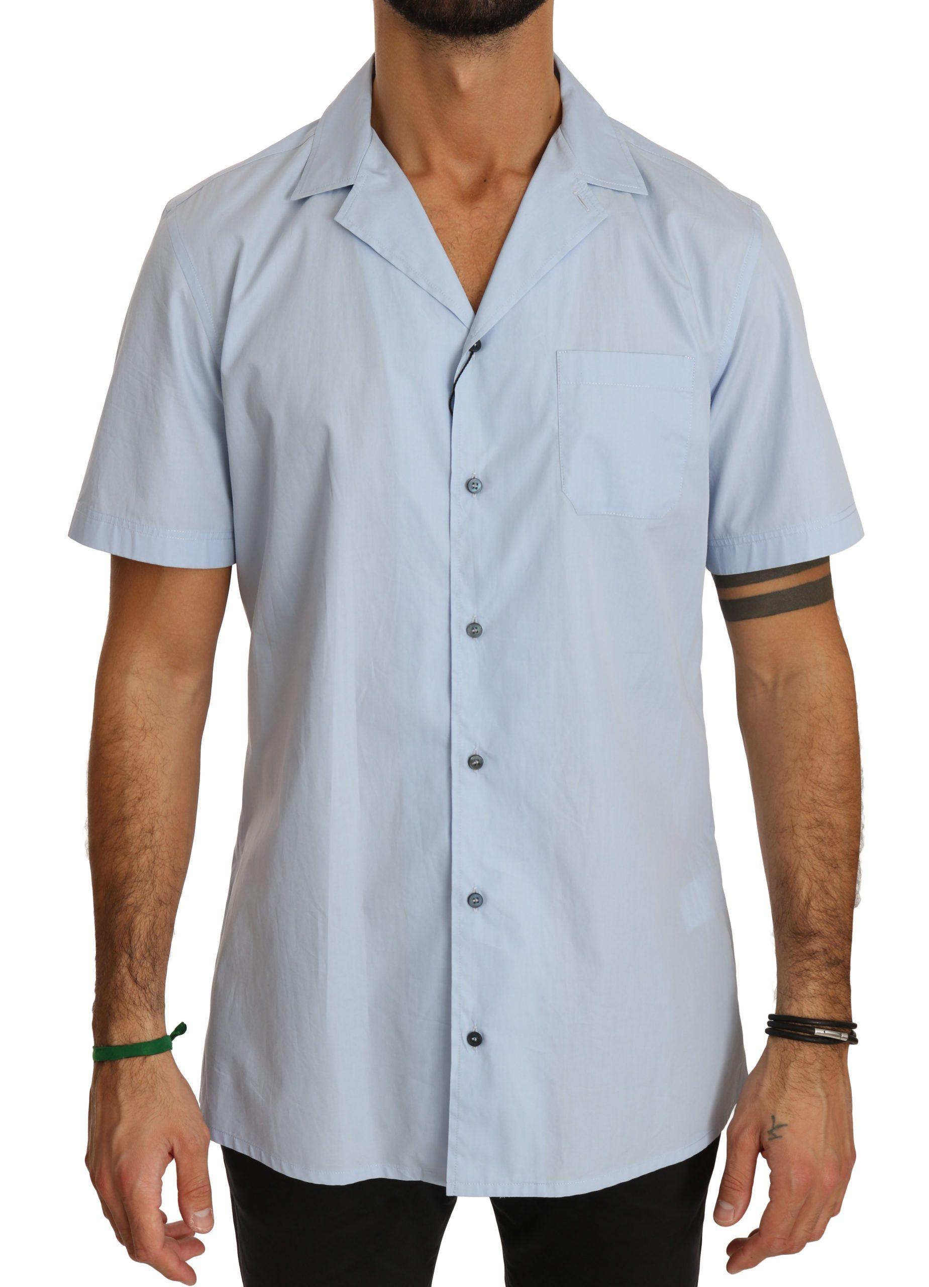 Blue Short Sleeve 100% Cotton Top Shirt - IT40 | M