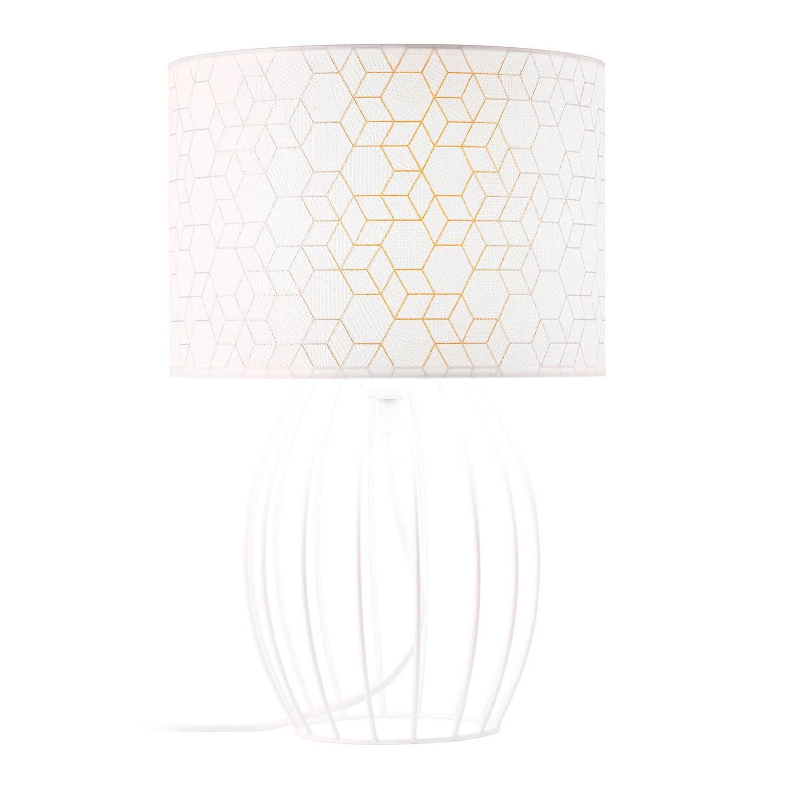 Bordlampe Galance, hvit med burstamme