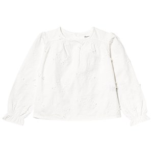 Bonpoint Twill Floral Embroidered Blus Vit 6 years
