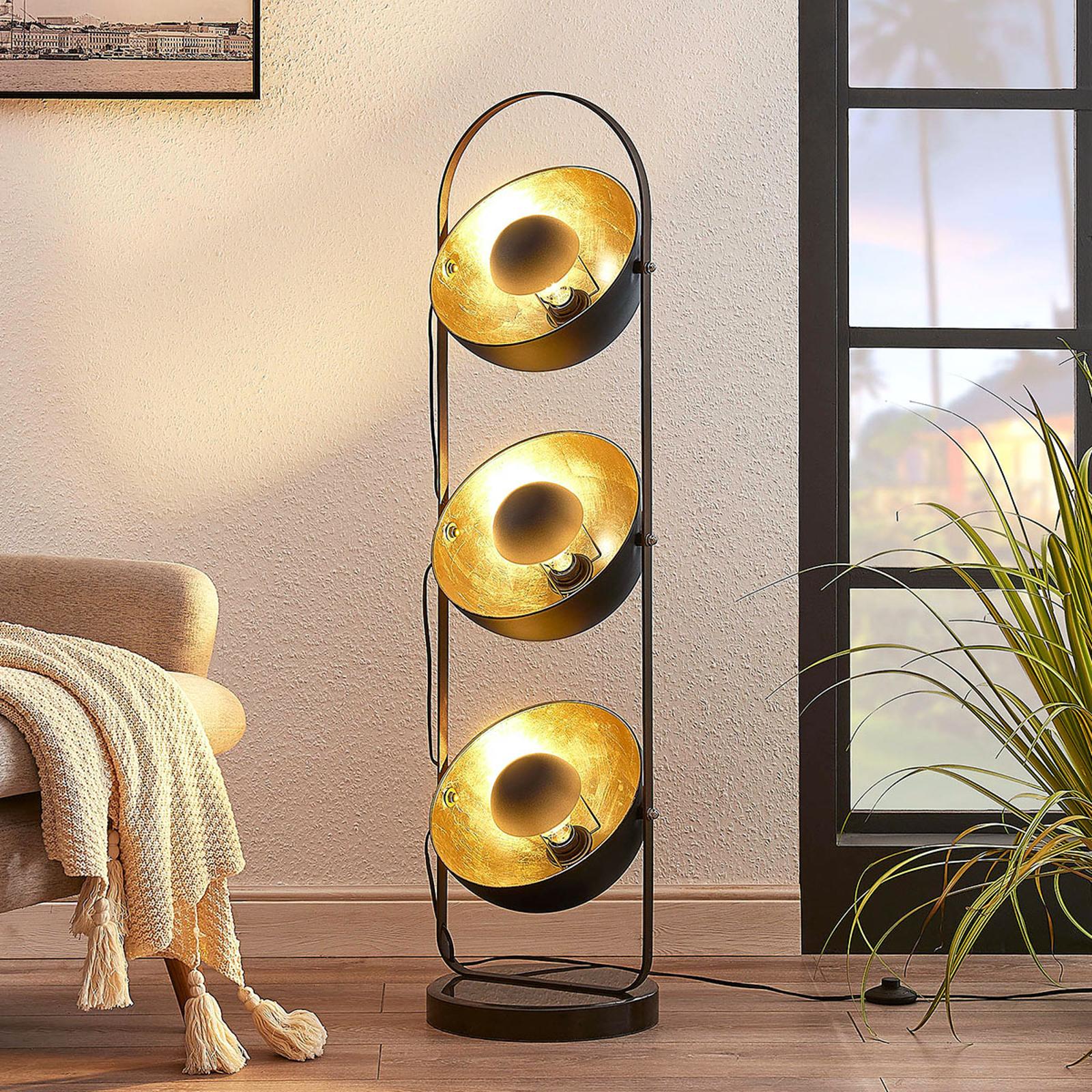 Lattiavalaisin Muriel 3-lamppuinen musta/kulta