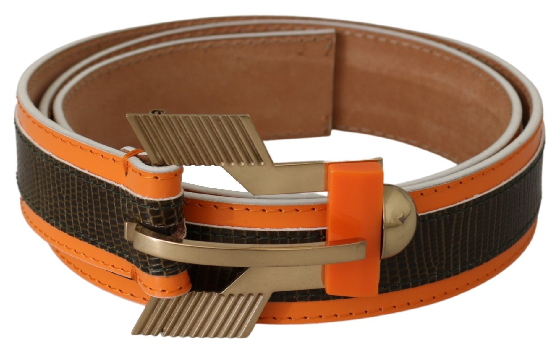 CO TE Women's Leather Buckle Animal Pattern Belt Brown BEL60665 - 90 cm / 36 Inches