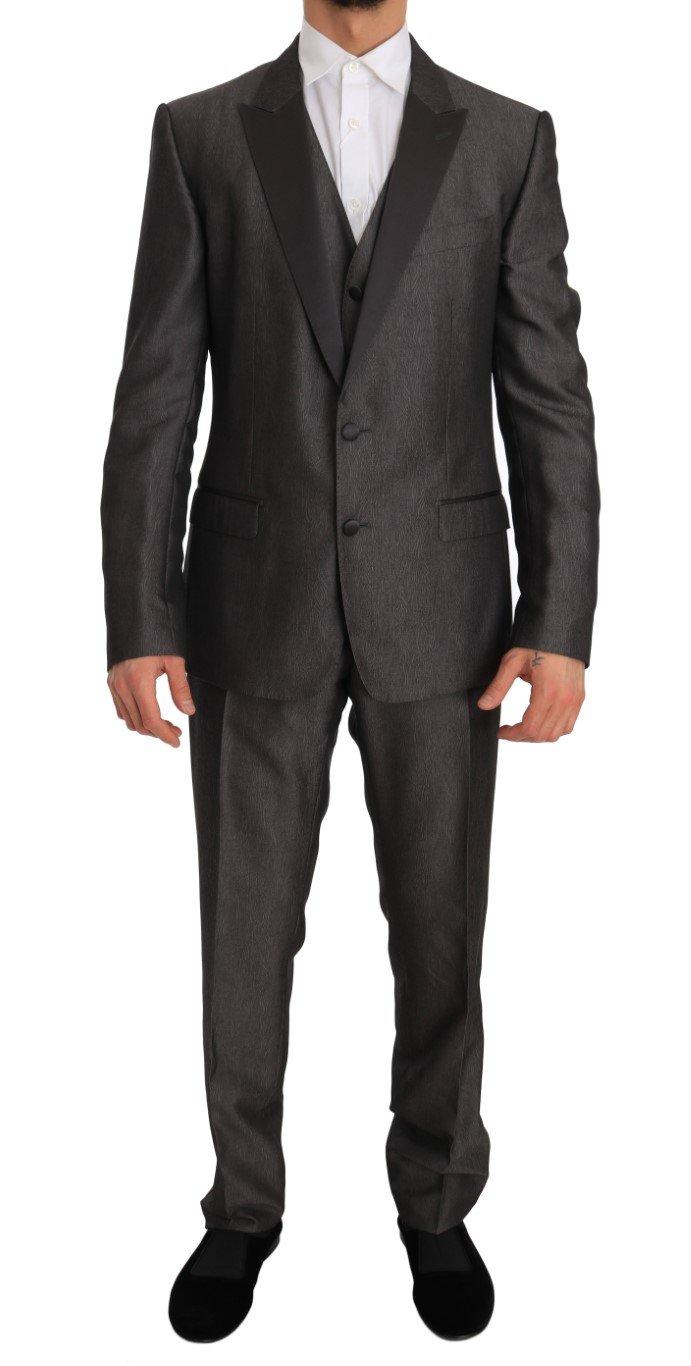 Dolce & Gabbana Men's Silk Wool MARTINI Slim Fit 3 Piece Suit Gray JKT1260 - IT52 | XL