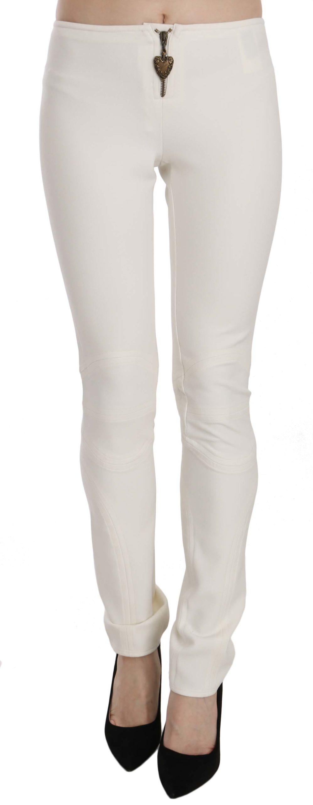 Just Cavalli Women's Mid Waist Skinny Dress Trouser White PAN70376 - IT38 XS