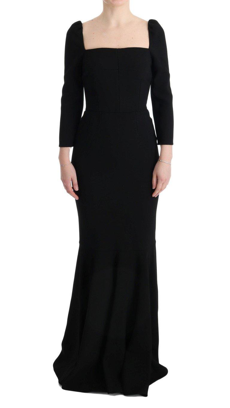 Dolce & Gabbana Women's Stretch Crystal Sheath Long Dress Black SIG60657 - IT40 S