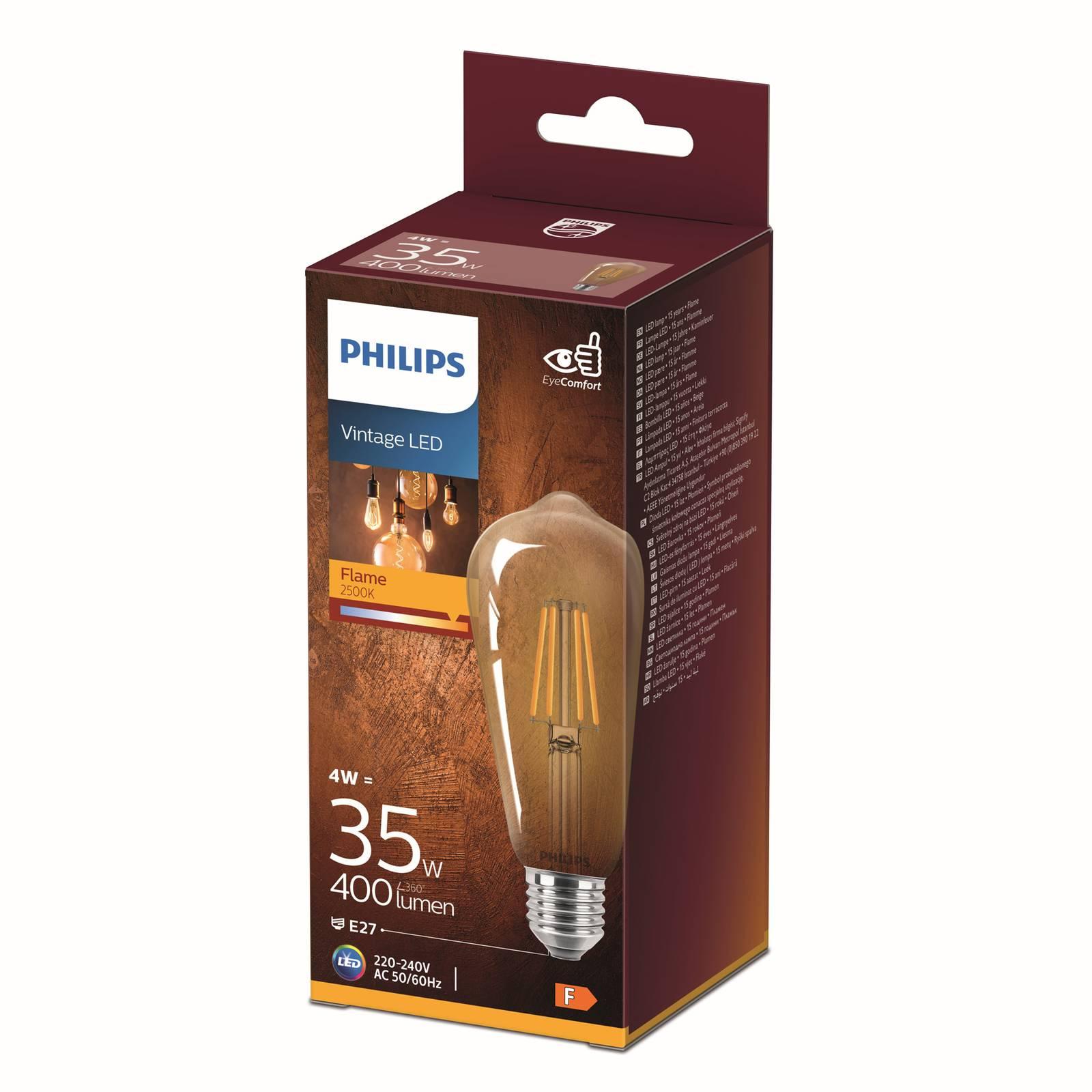 Philips E27 ST64 -LED-lamppu Curved 4W 2 500 K