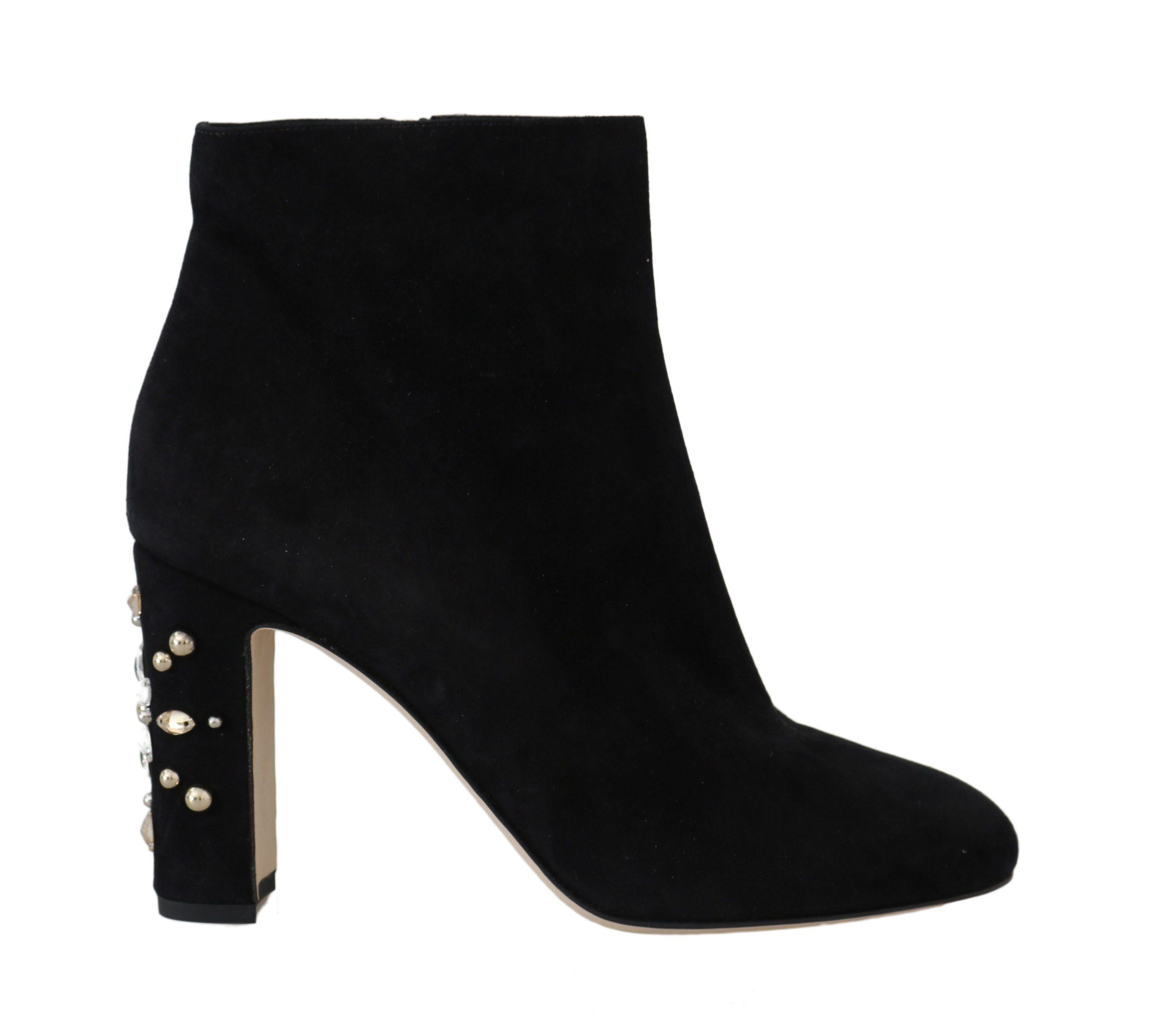 Dolce & Gabbana Women's Suede Crystal Studded Boot Black LA5594 - EU40/US9.5