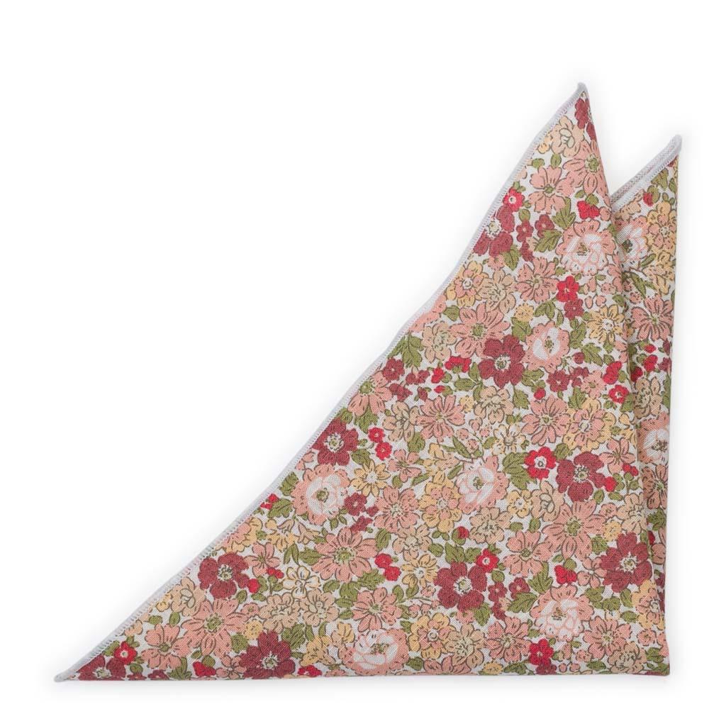 Bomull Lommetørkler, Hvit base med rosa, beige, rosa & grønne blomster