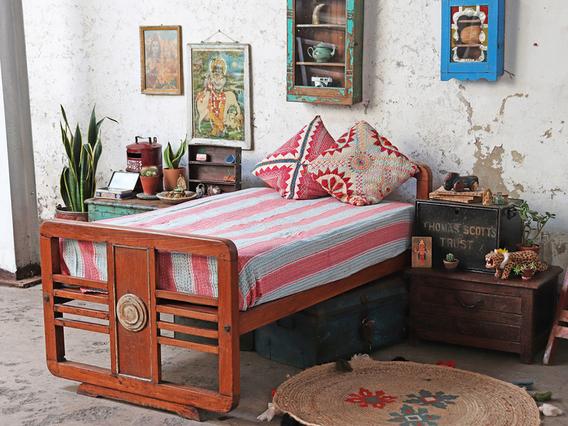 Art Deco Single Bed Brown