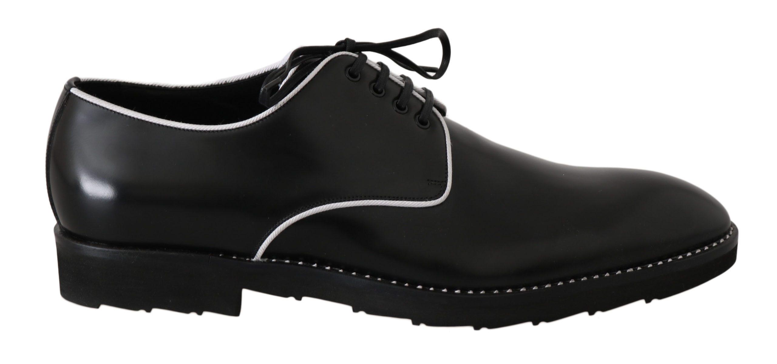 Dolce & Gabbana Men's Leather Line Derby Shoes Black MV2354 - EU39/US6