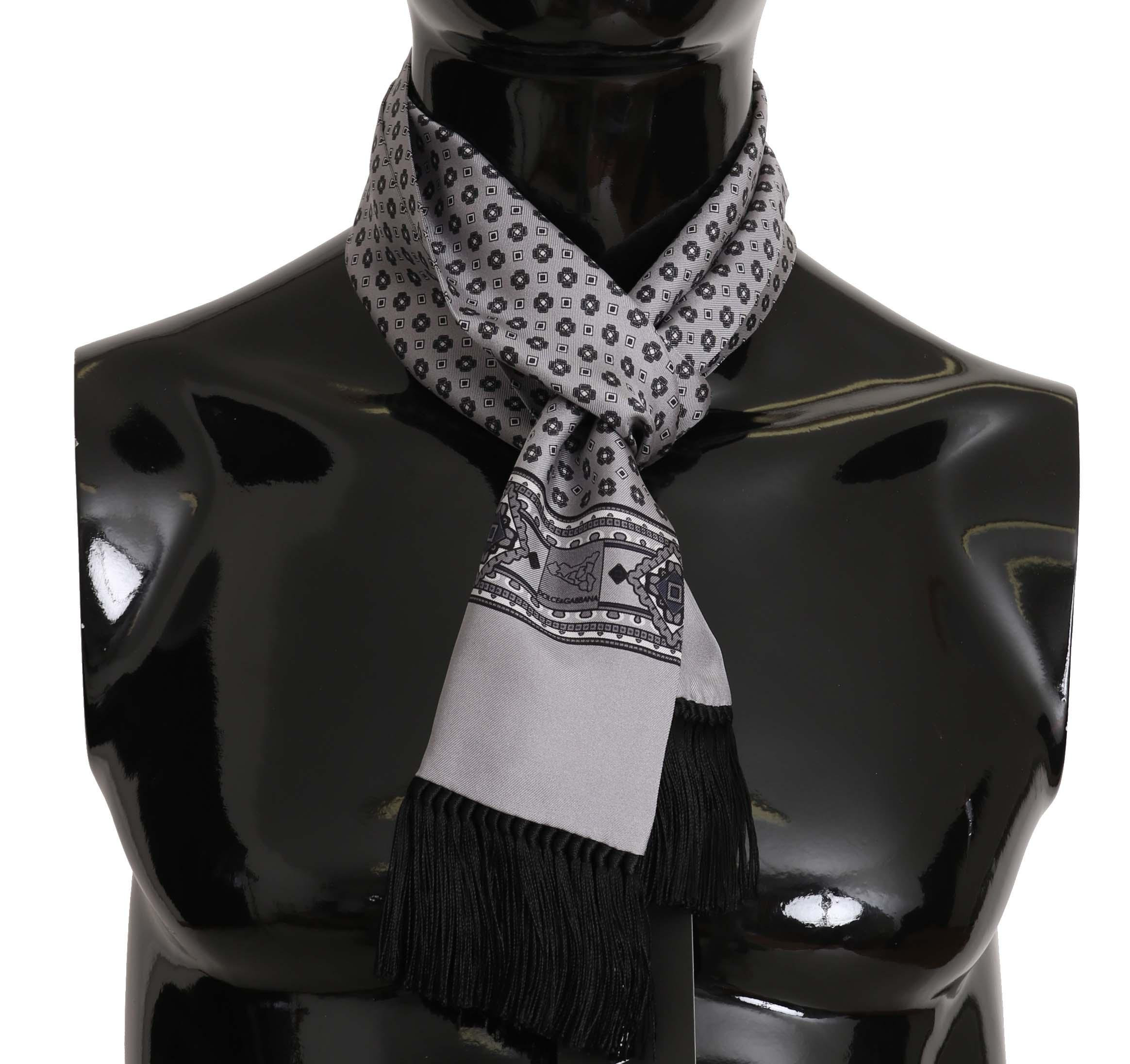 Dolce & Gabbana Men's Baroque Tassel Silk Scarf Silver MS5133