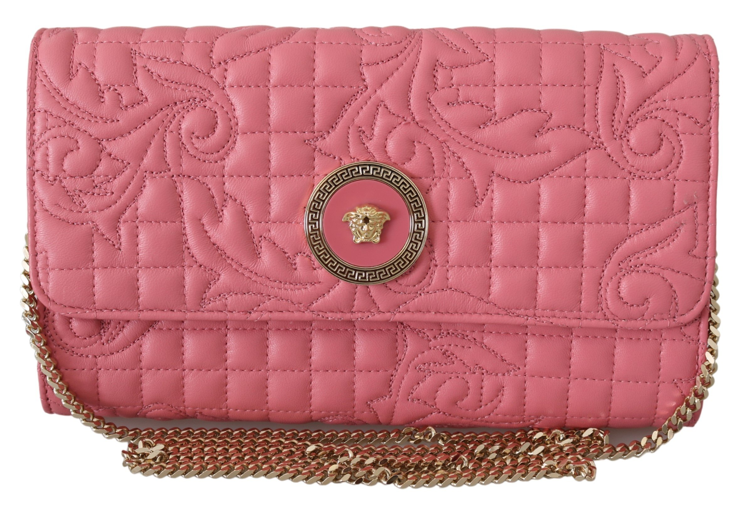Versace Women's Quilted Nappa Leather Handbag Pink 8053850414079