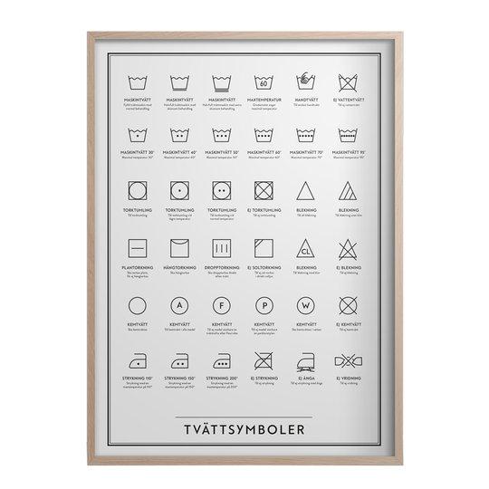 Kunskapstavlan - Poster 50x70 cm Tvättsymboler