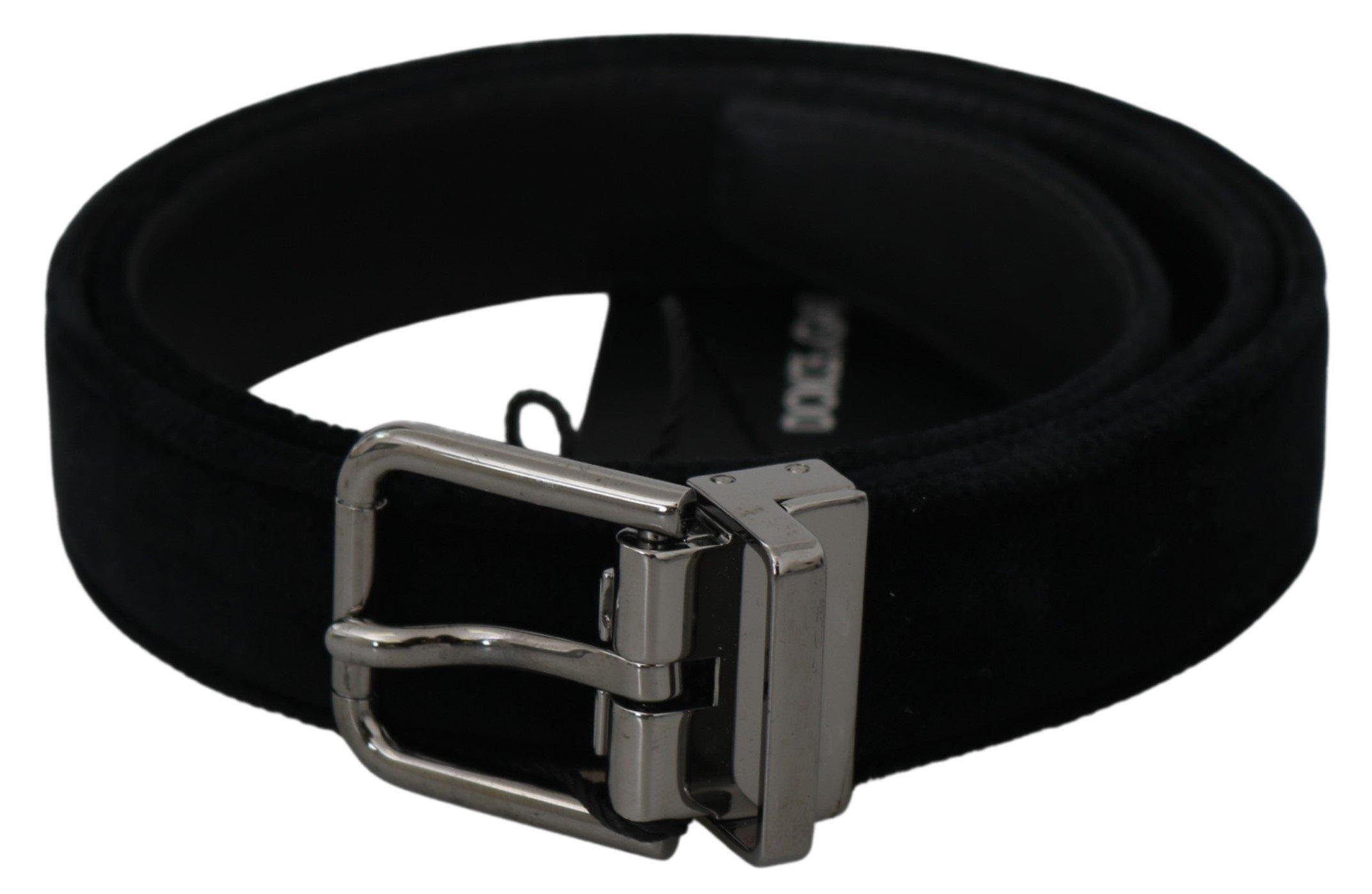 Black Velvet Leather Gray Logo Buckle Belt - 115 cm / 46 Inches