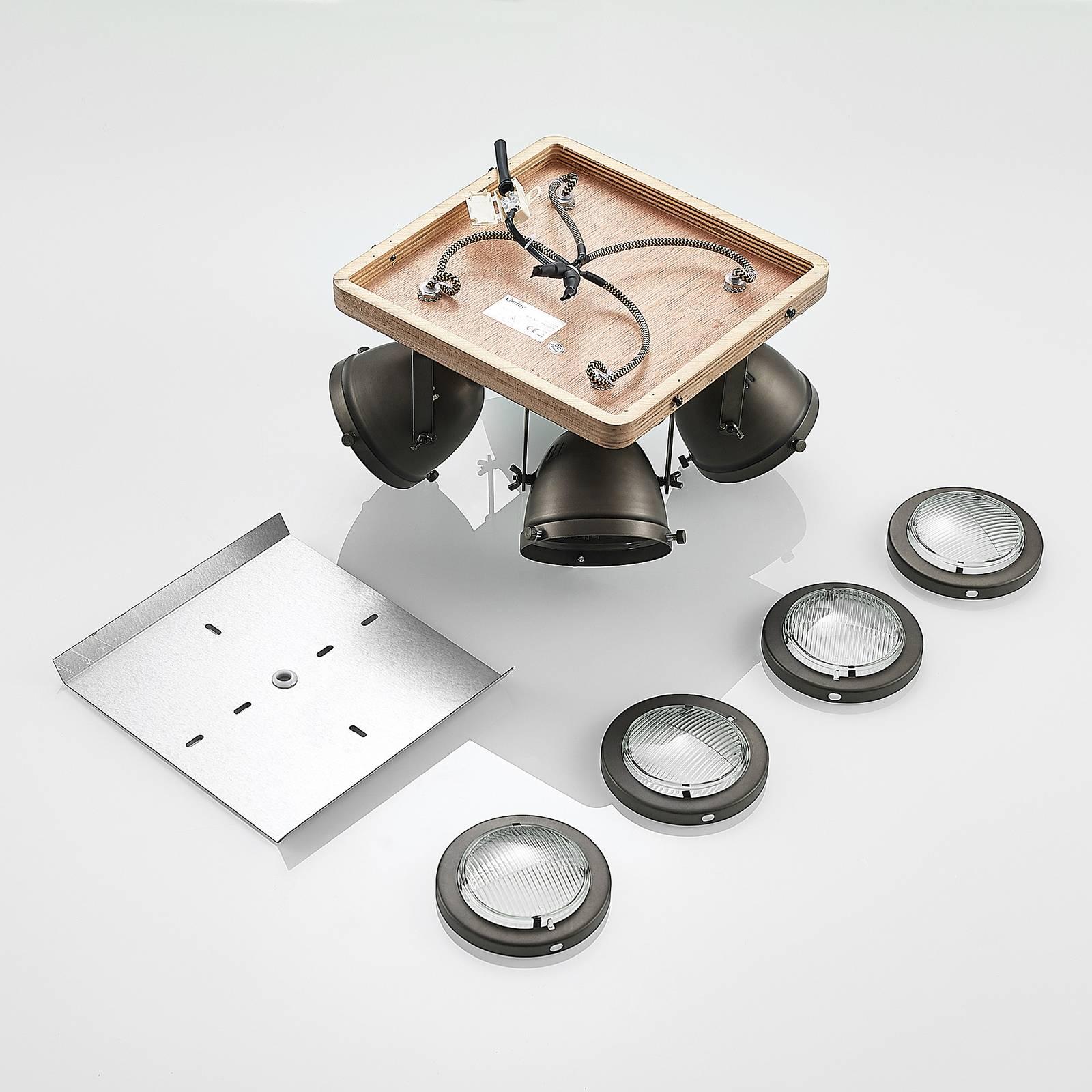 Lindby Farovi -kattokohdevalo musta 4-lamppuinen