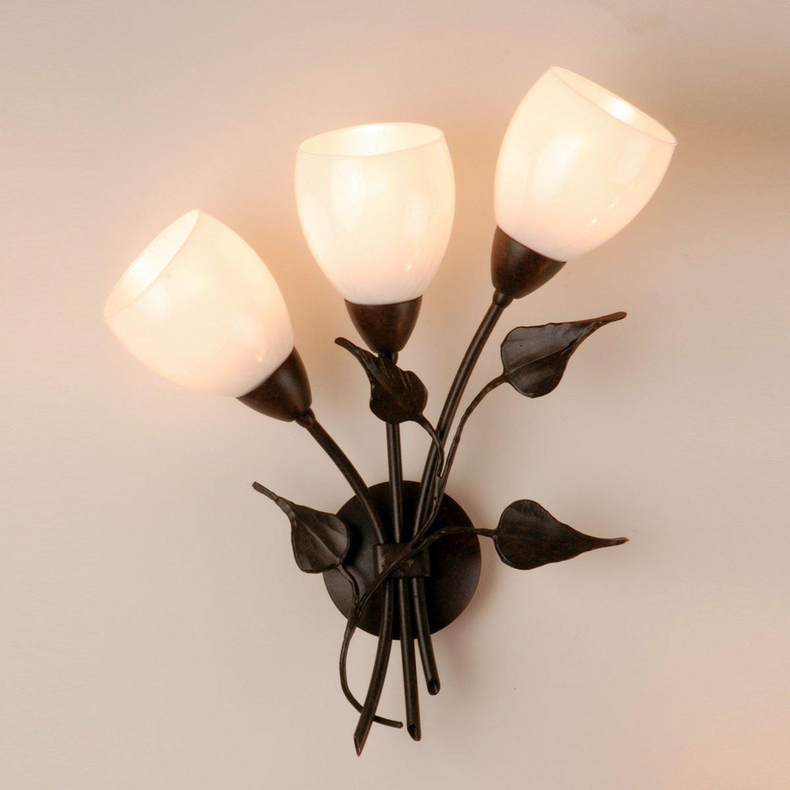 Vegglampe CHALET med blomsterdekor, glasstulipaner