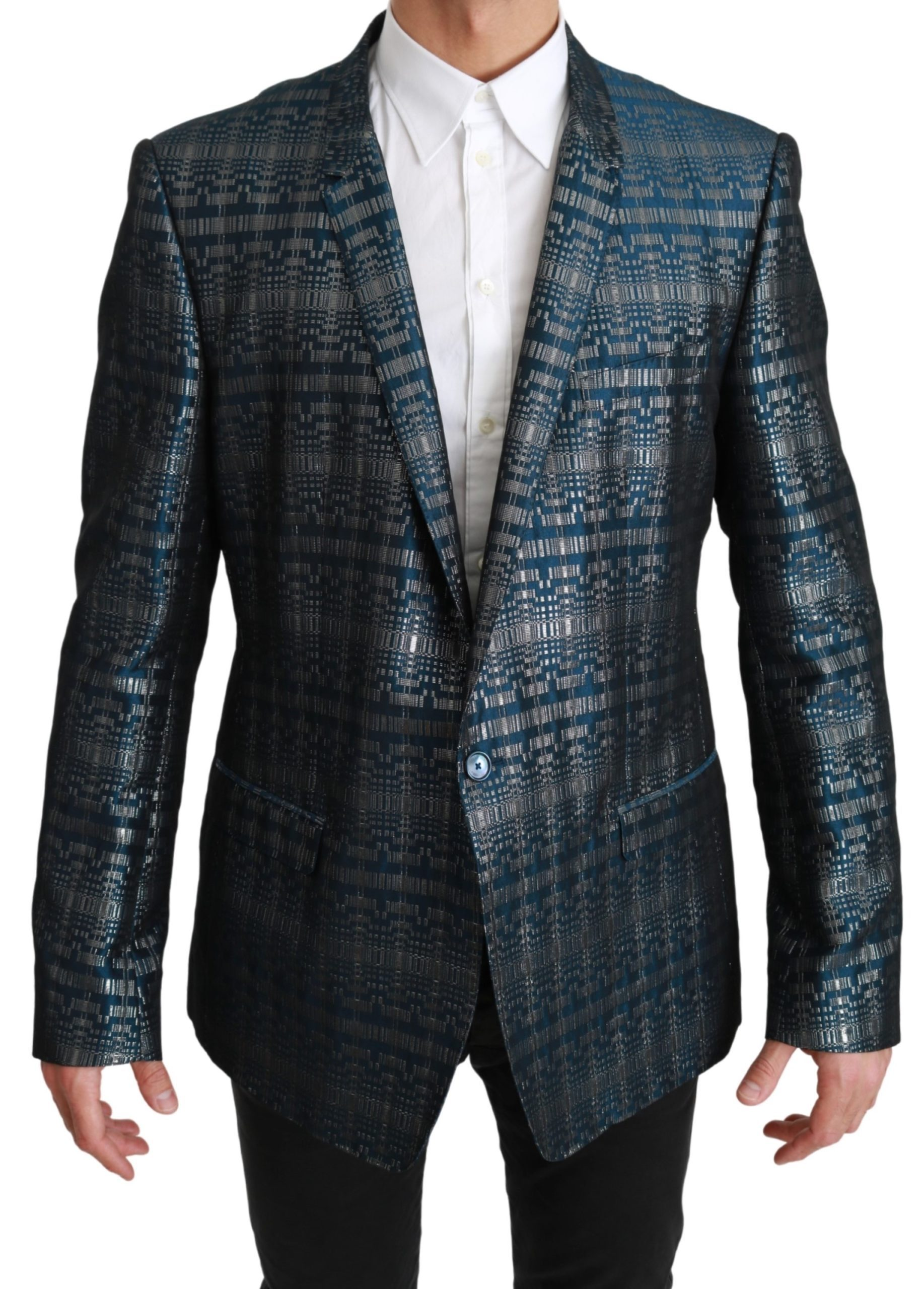 Dolce & Gabbana Men's Shiny GOLD Logo Blue JKT2605 - IT56 | XXL