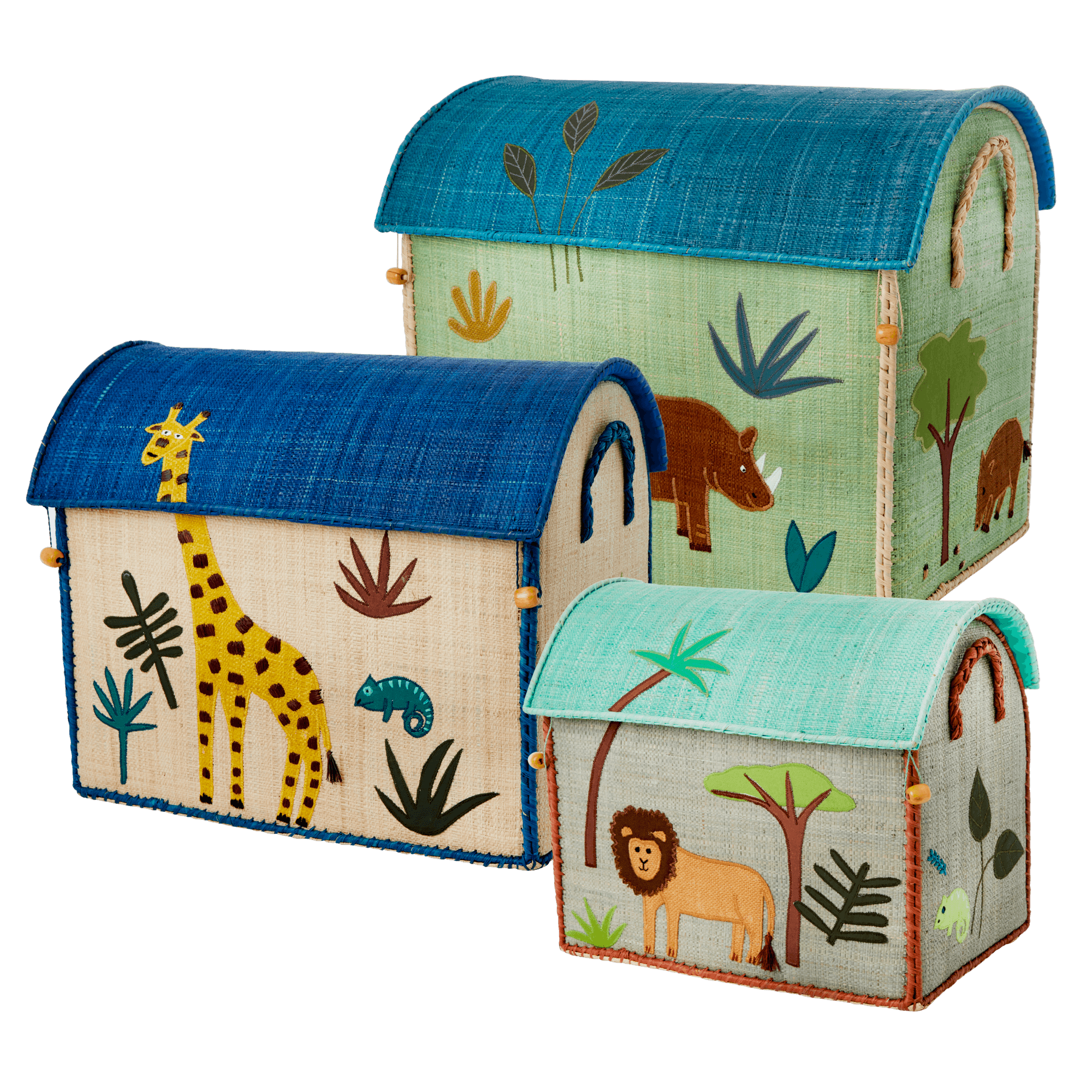 Rice - Large Set of 3 Toy Baskets - Blue Jungle Theme