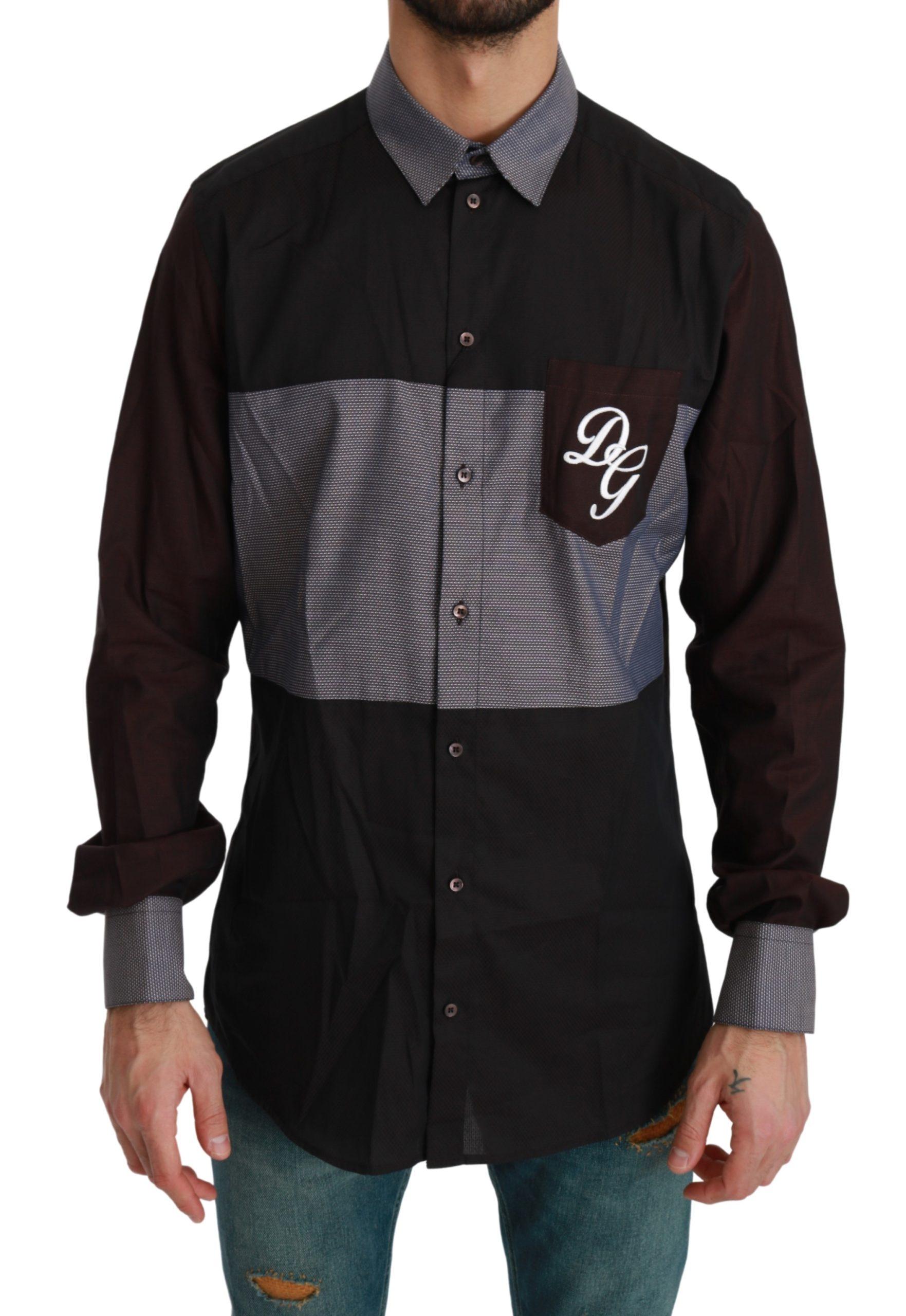 Dolce & Gabbana Men's DG Dress Cotton Shirt Bordeaux TSH4514 - IT37 | XS