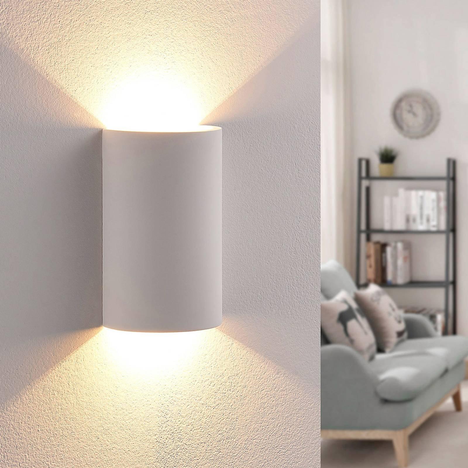 LED-vegglampe i gips med effektfull utstråling