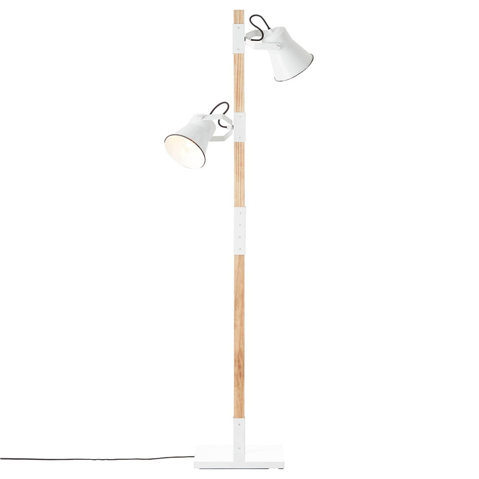 Lattiavalo Plow, 2 lamppua, valkoinen, vaalea puu