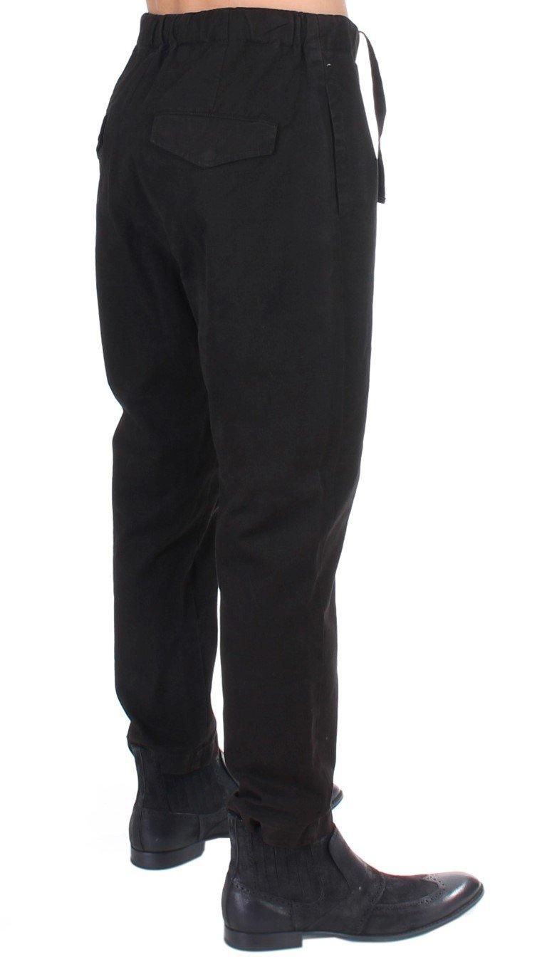 Costume National Women's Striped Cotton Casual Trouser Black SIG11027 - IT50 | M-L