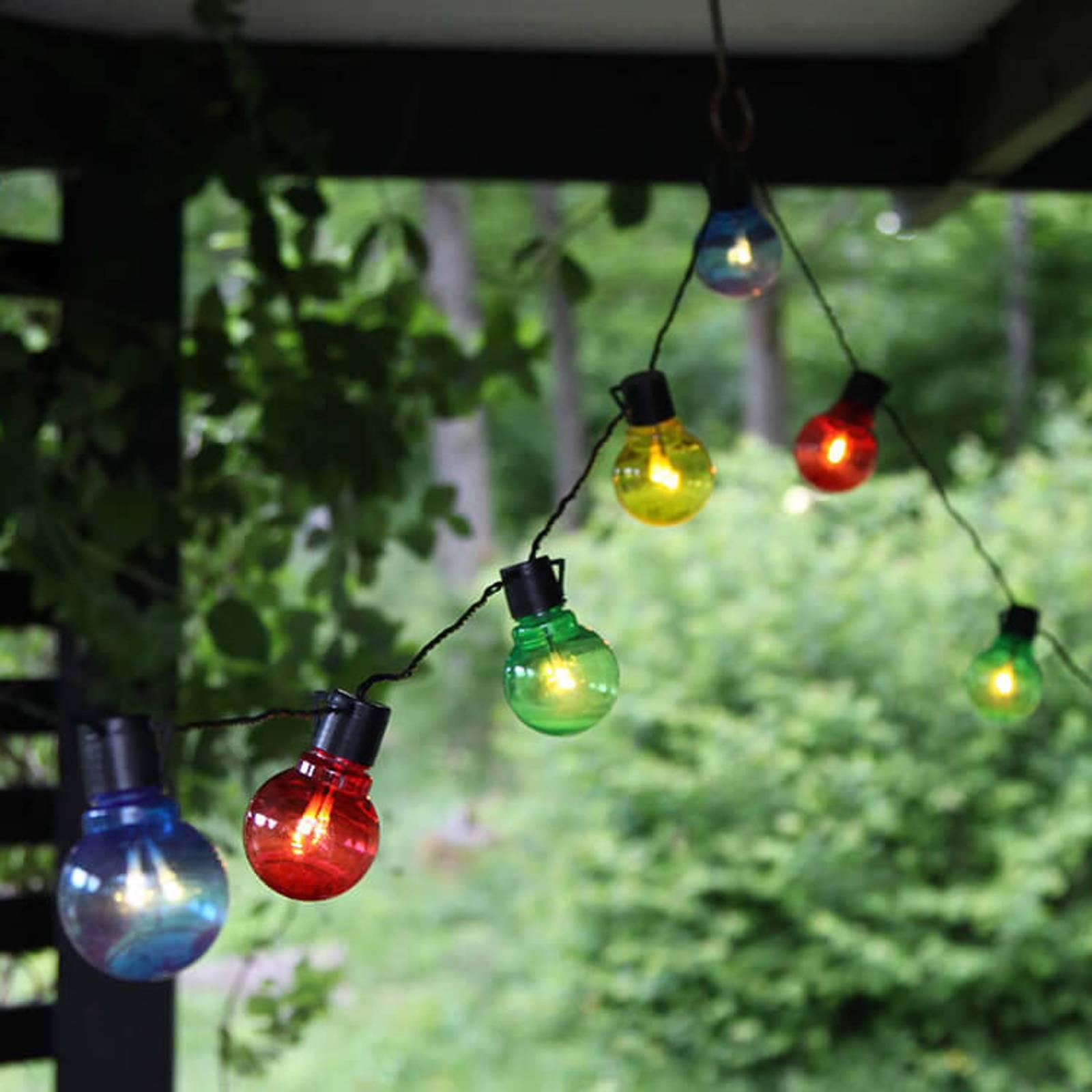 Värikäs LED-valoketju Partaj, 16 lamppua