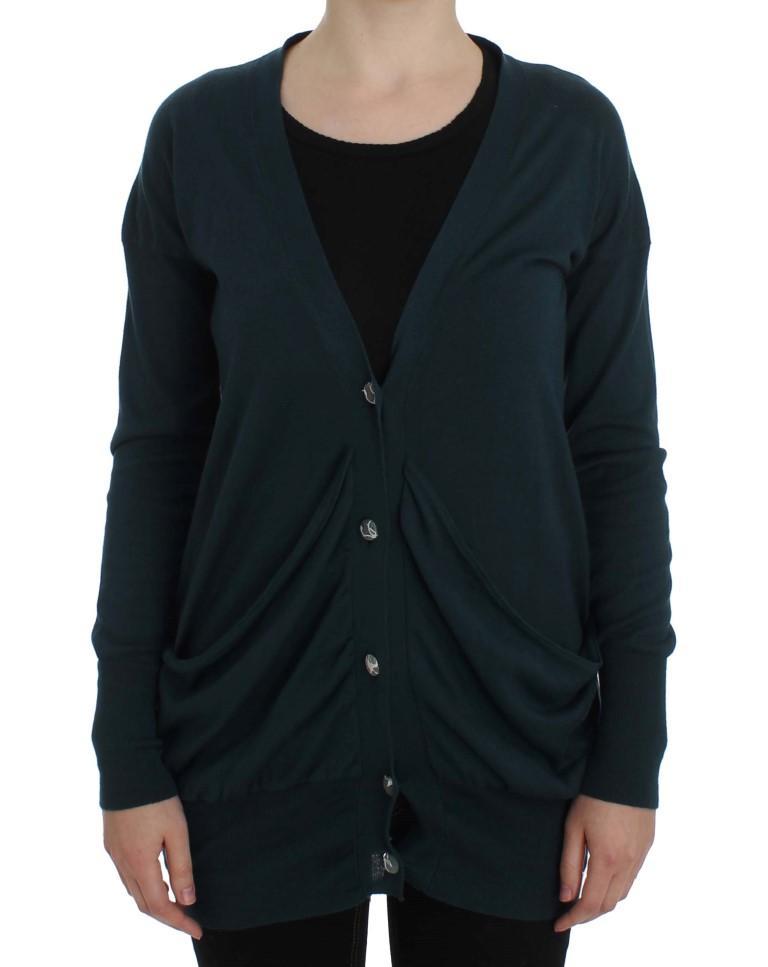 Green Button Down Cardigan Sweater - IT44 L