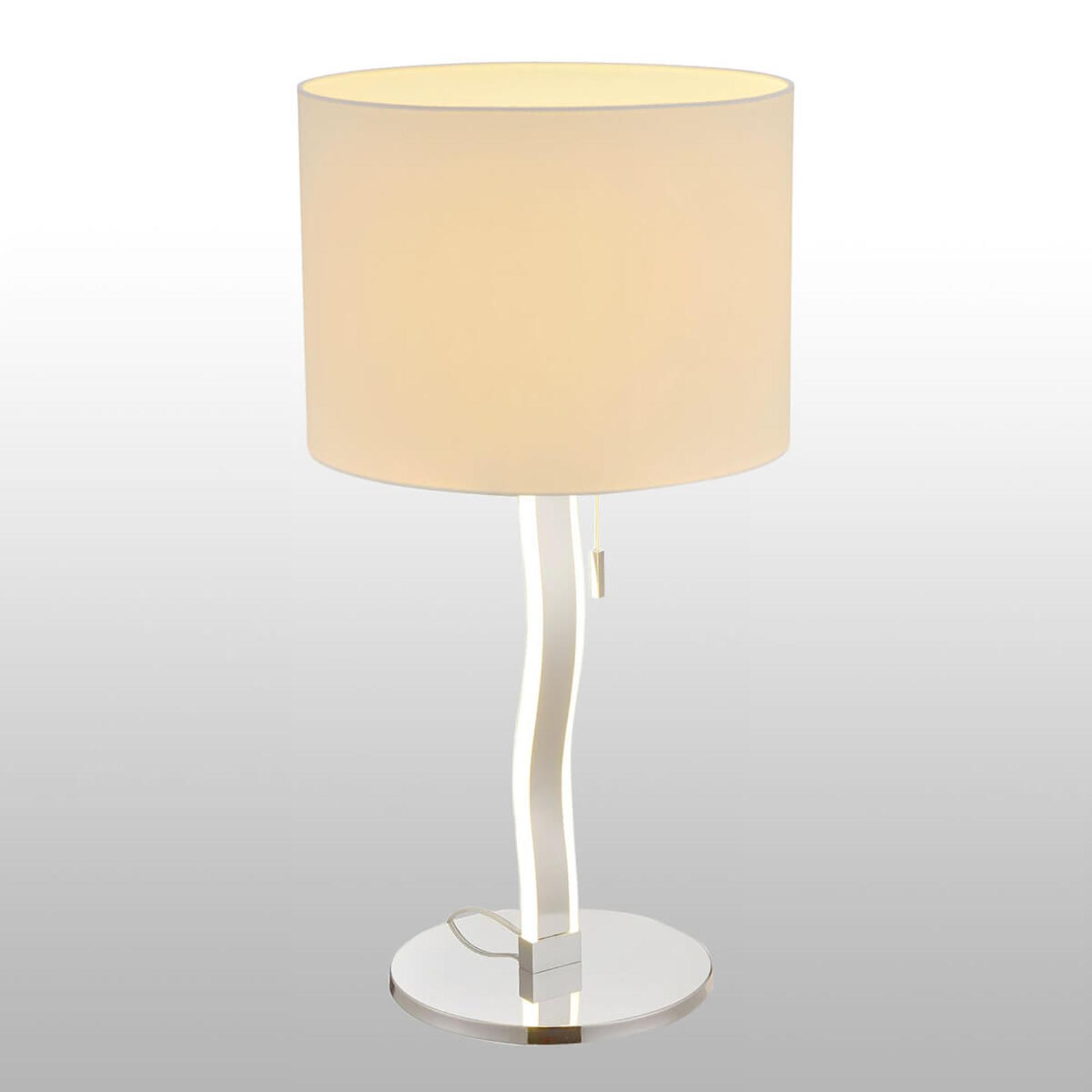 Maren – tekstiilipöytälamppu, jolla LEDejä jalassa