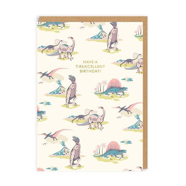 Pastel Dinosaurs Birthday Greeting Card