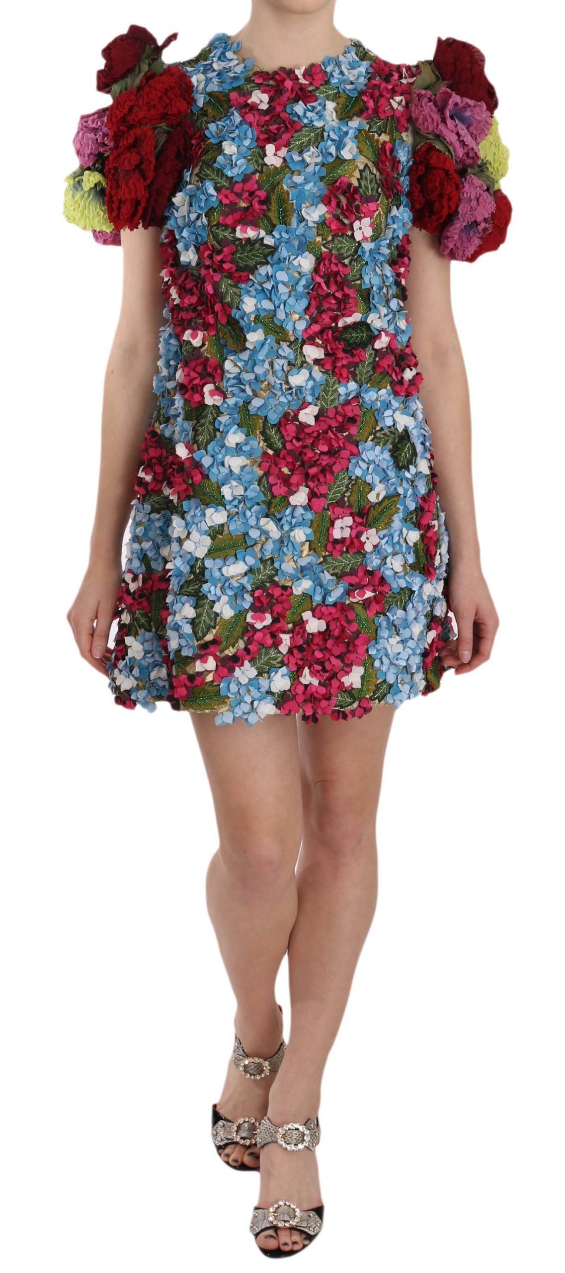 Dolce & Gabbana Women's Floral Button Crystal Mini Dress Multicolor DR1623 - IT38 | S