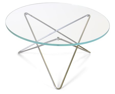 O-table glass sofabord – Clear/stainless steel