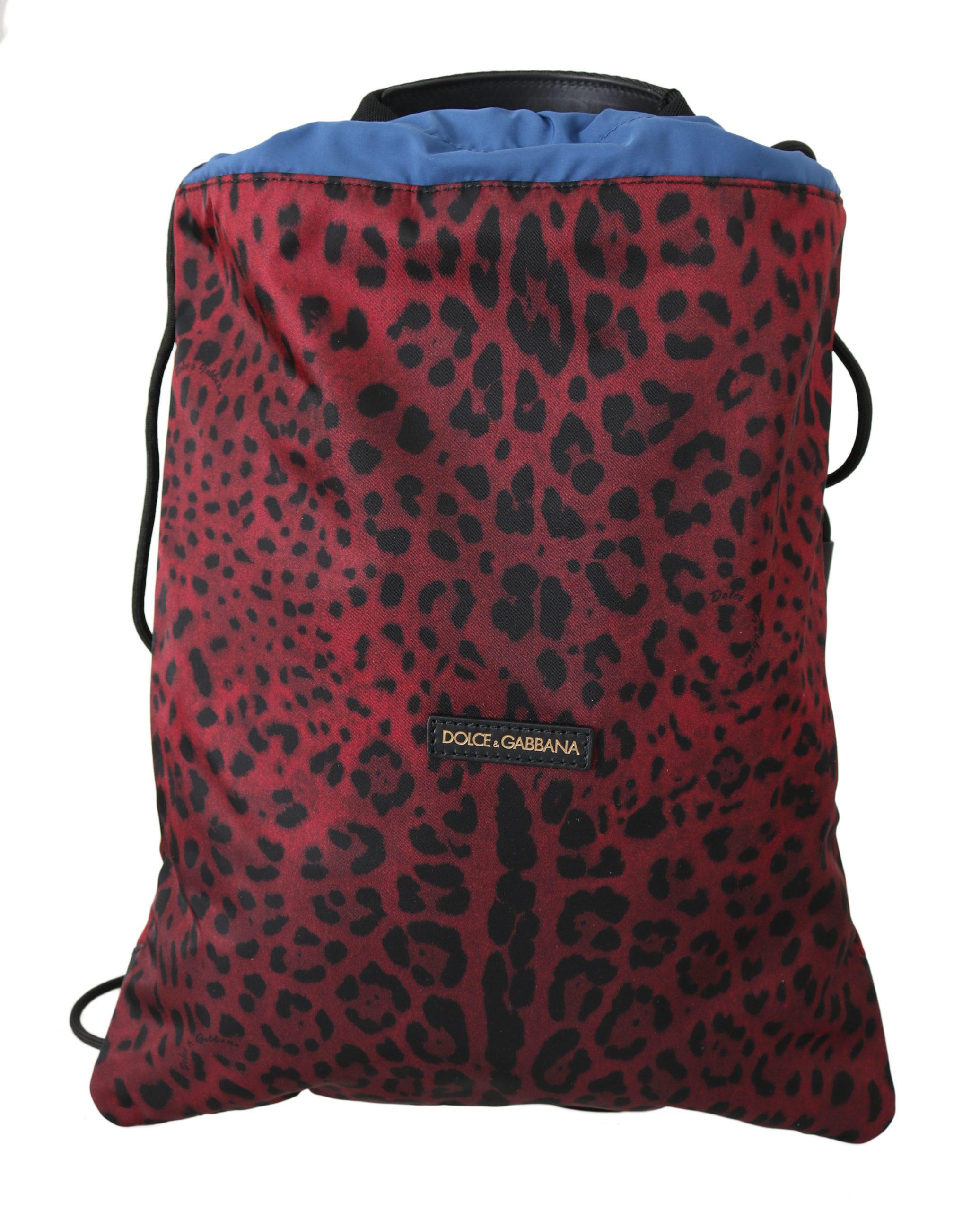Dolce & Gabbana Women's Leopard Adjustable Nap Sack Backpack Red VA8642