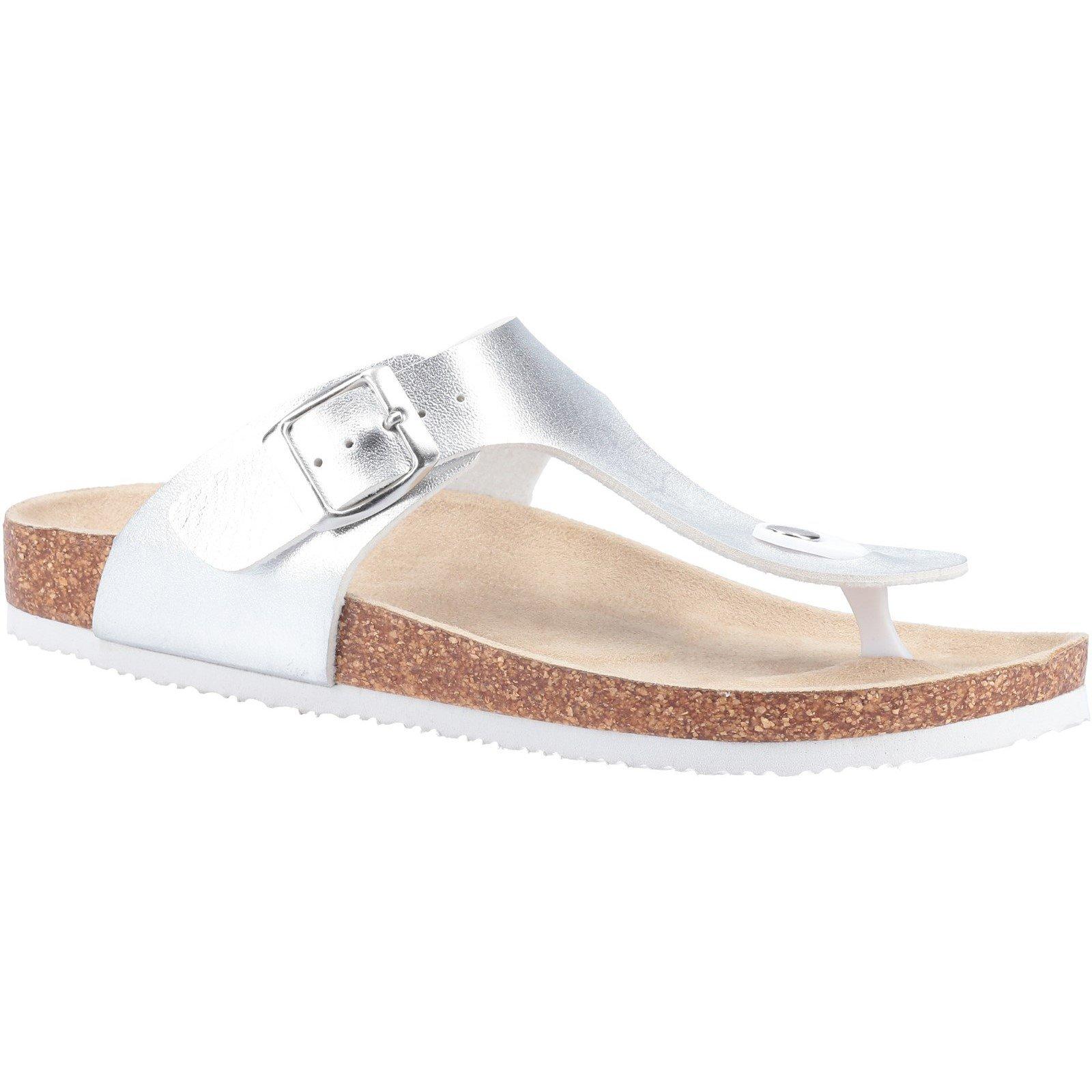 Divaz Women's Biarritz Toe Post Sandal Various Colours 31919 - Silver 3