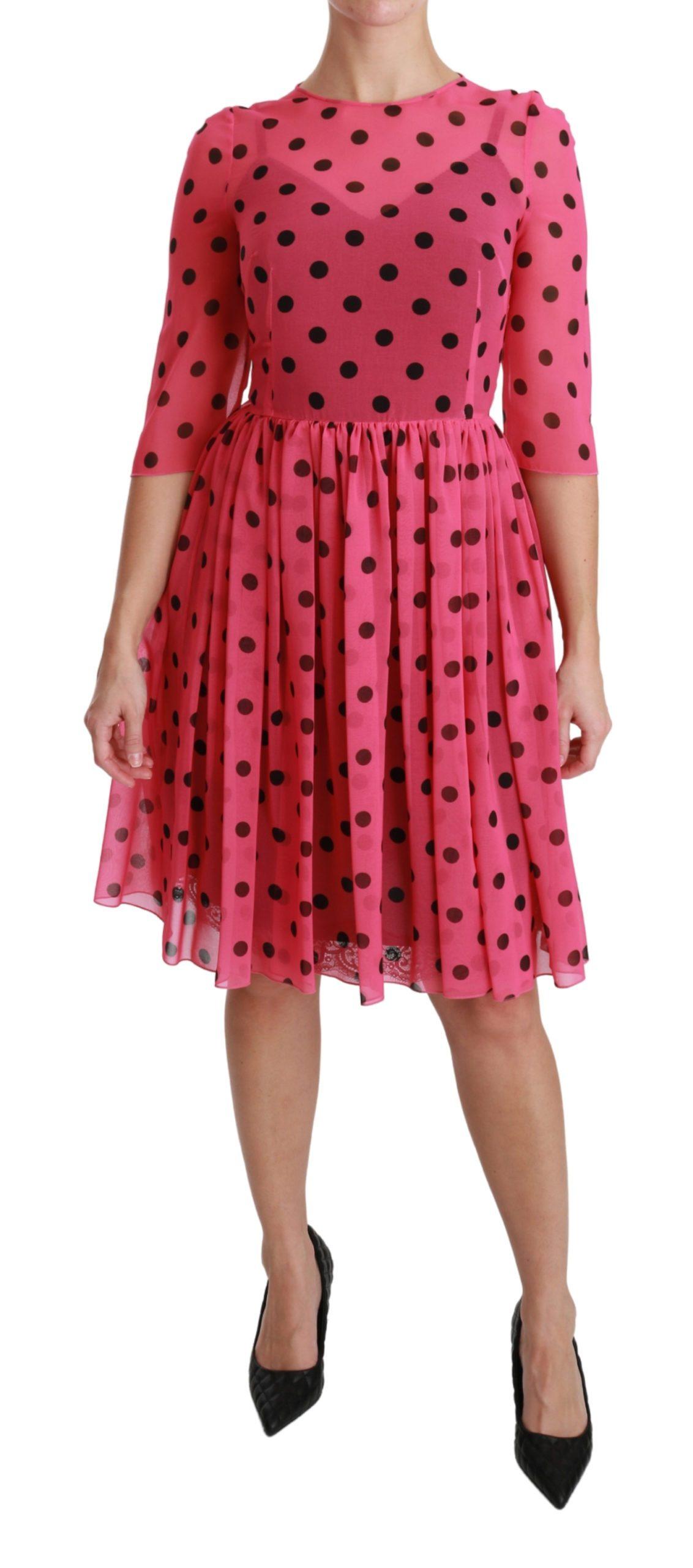 Dolce & Gabbana Women's Polka Dots A-line Knee Length Dress Pink DR2539 - IT38 XS