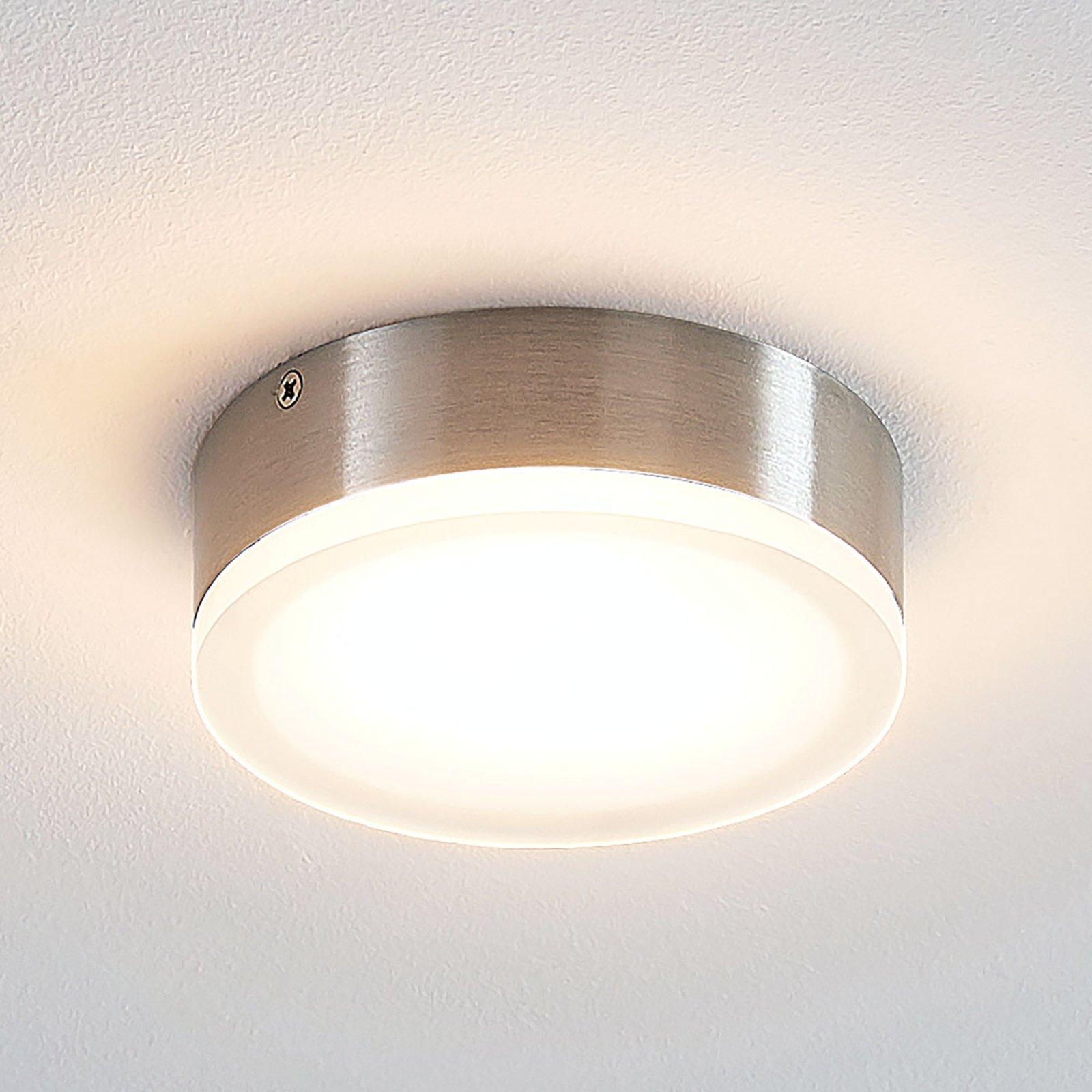 Lindby Leonta LED-taklampe, nikkel, Ø 12 cm